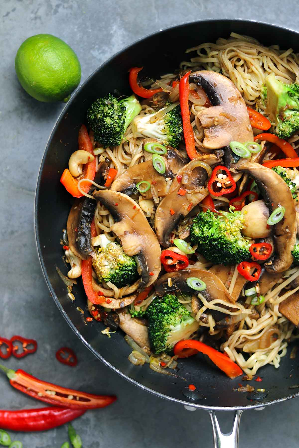 mushrooms and broccoli with spring onion, chilli and noodles