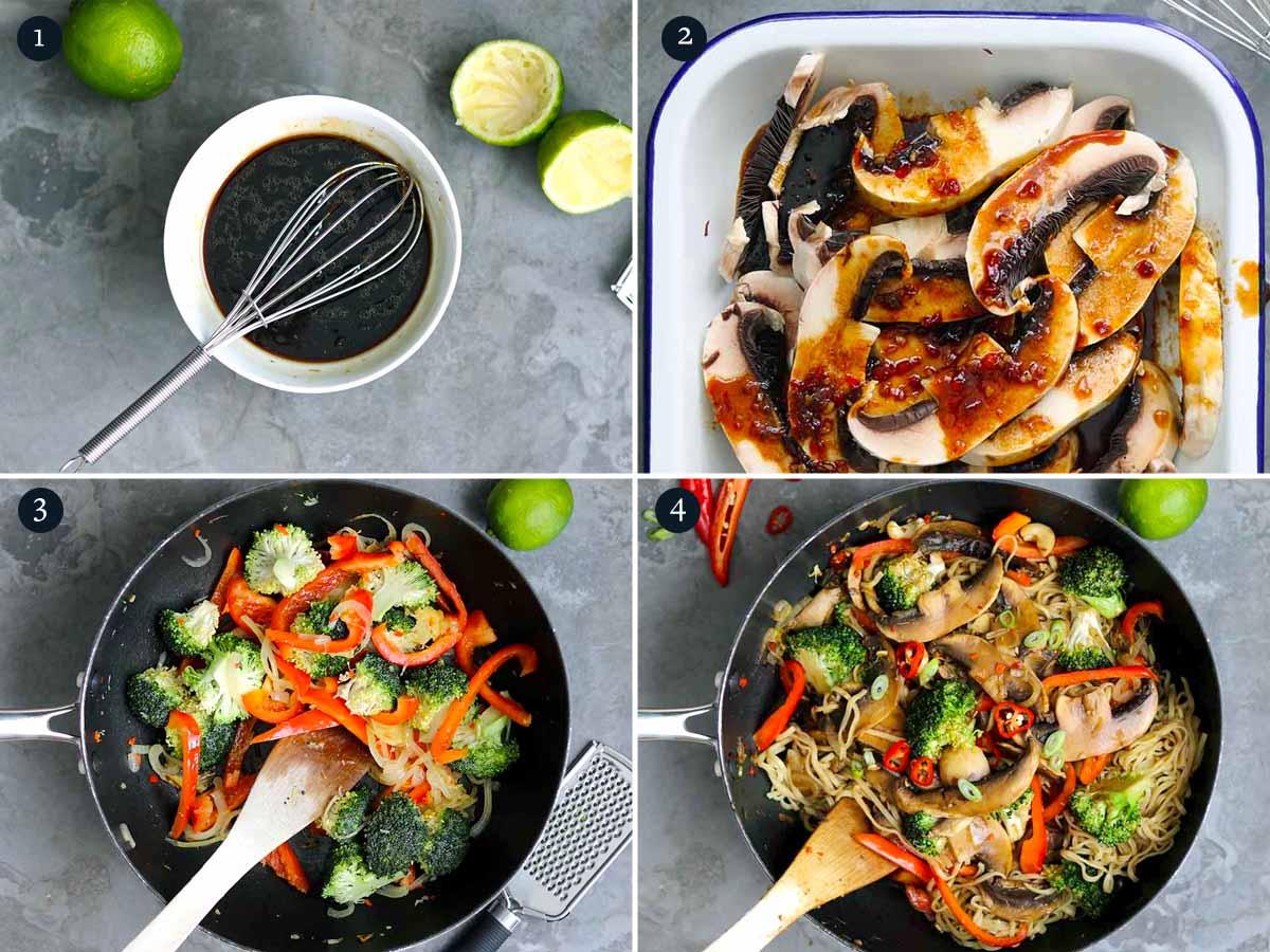 Step by step process on making mushroom stir fry with broccoli