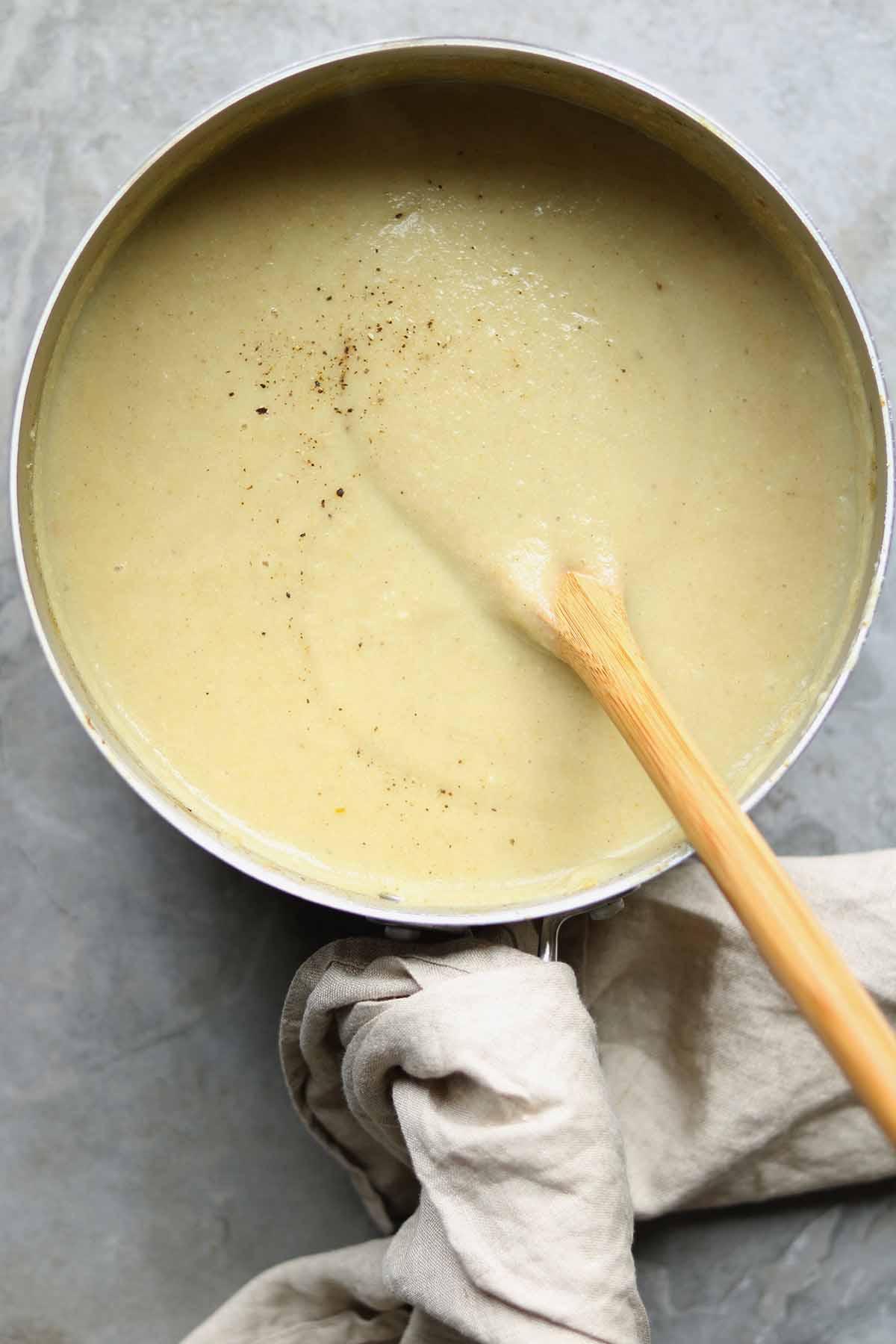 spicy cauliflower soup in pot