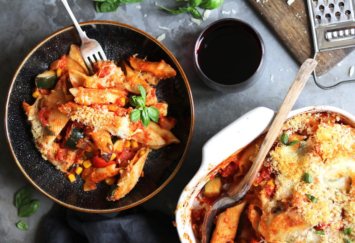 Vegetable Pasta Bake with Cheesy Topping