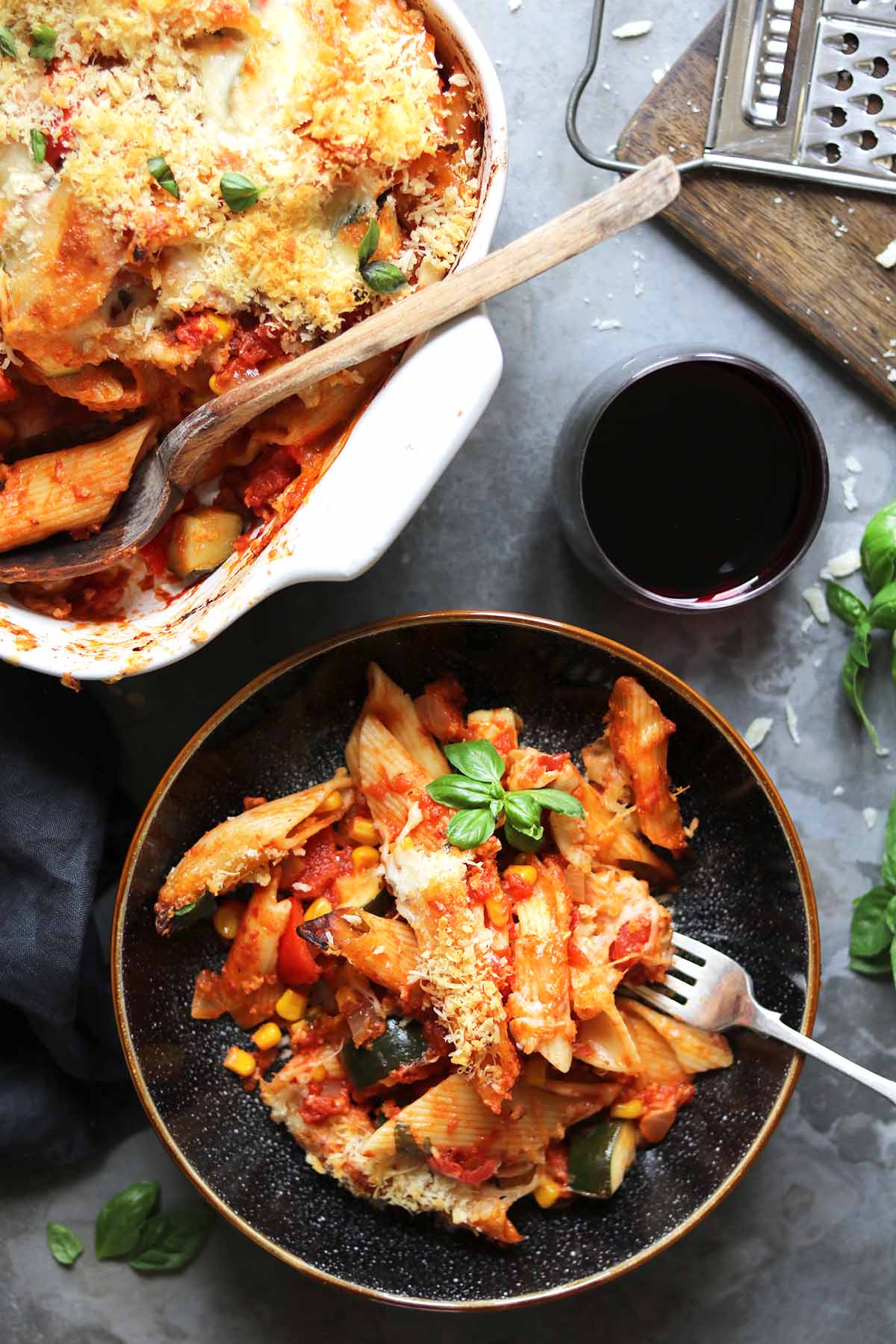 vegetable pasta bake bowl