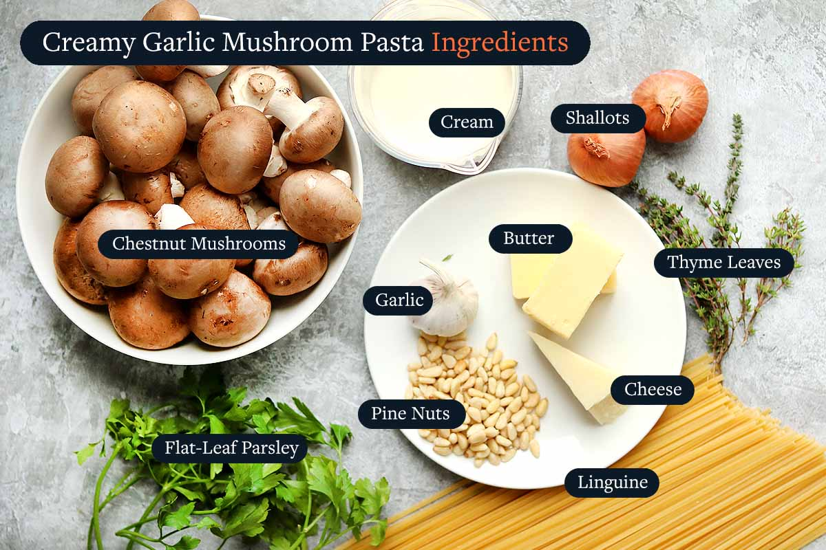 Ingredient for making Creamy Garlic Mushroom Pasta