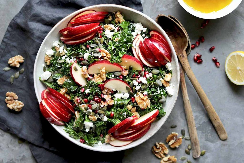 Apple Walnut Salad with Kale