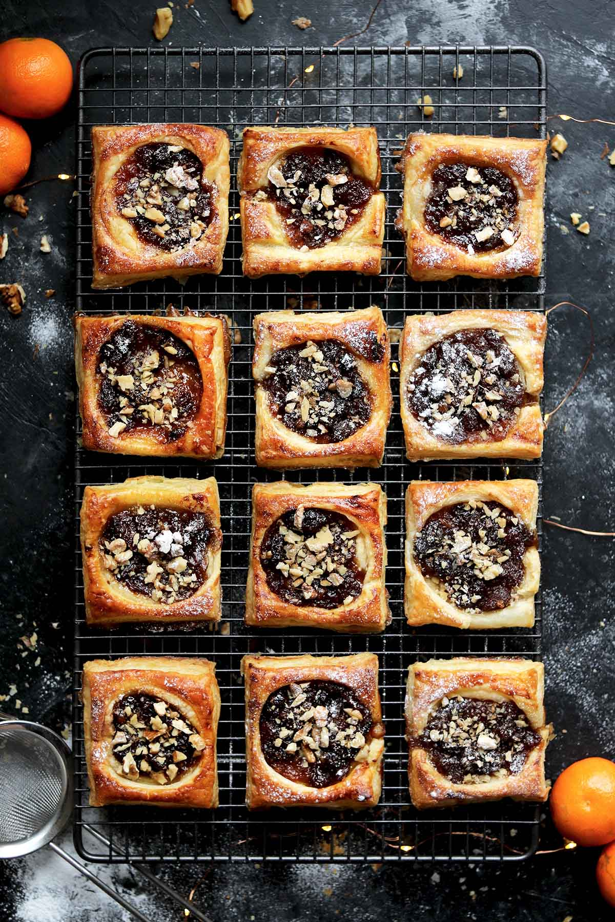 puff pastry mince pie squares on tray