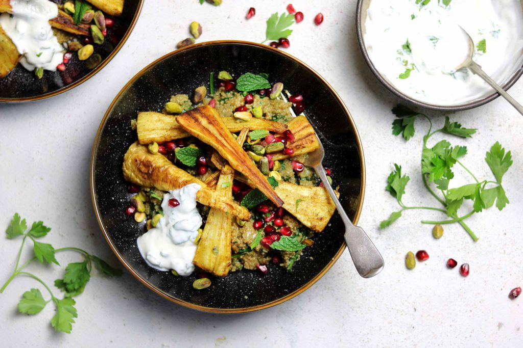 Roasted Curried Parsnips with Cumin Quinoa Pilaf