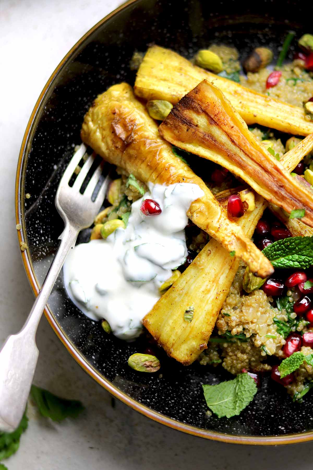 roasted curried parsnips close up