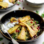 roasted curried parsnips side on