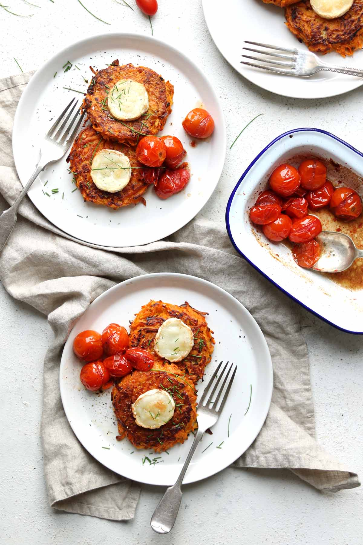 sweet potato rosti with tomatoes and chives