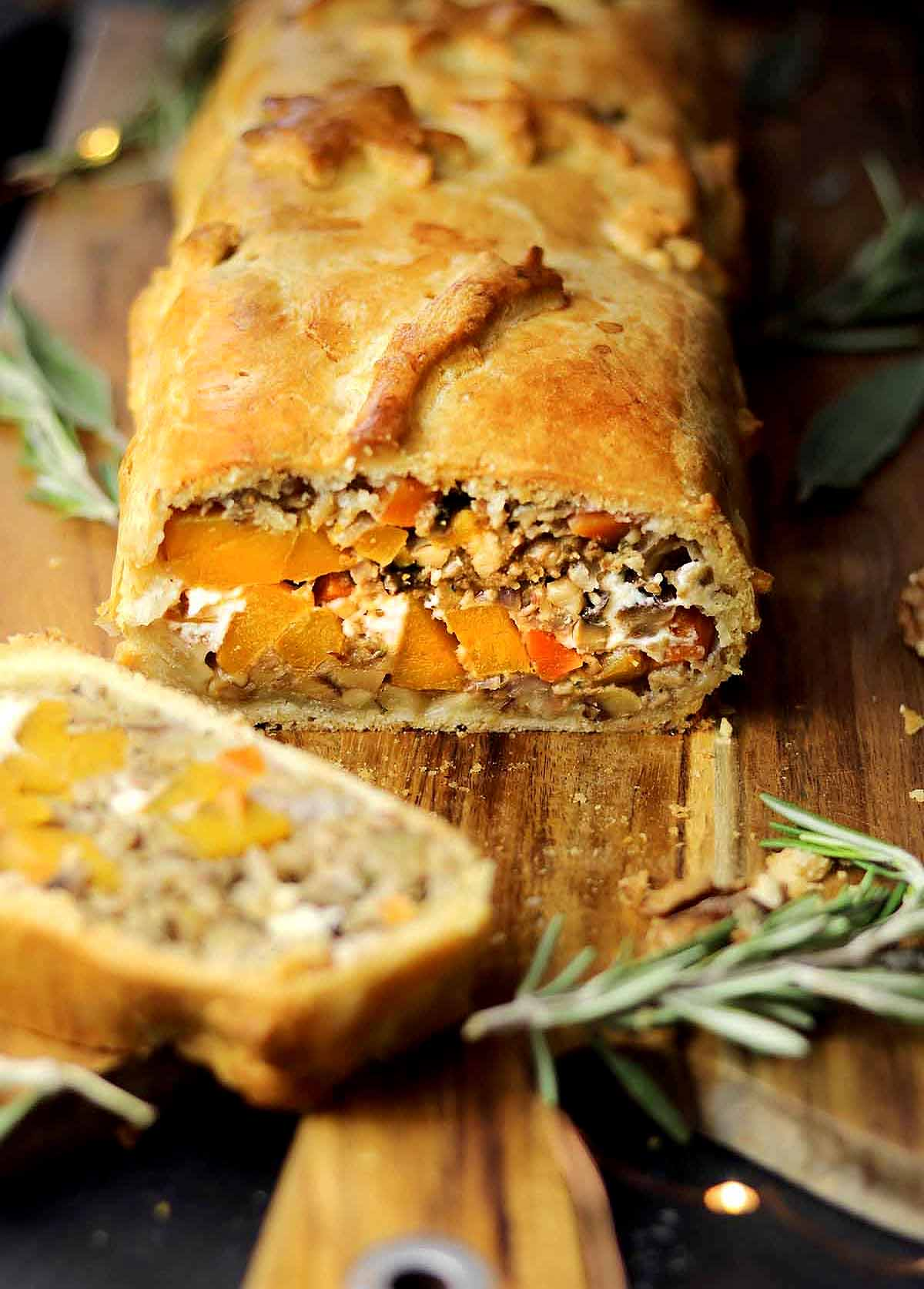 Nut roast wrapped in a pastry