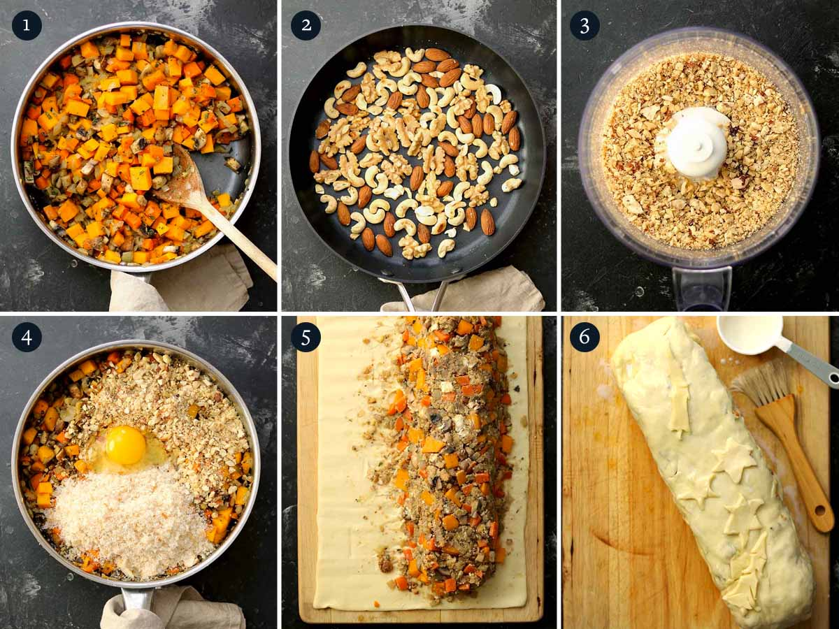 Step by step process for making Nut Roast en Croute