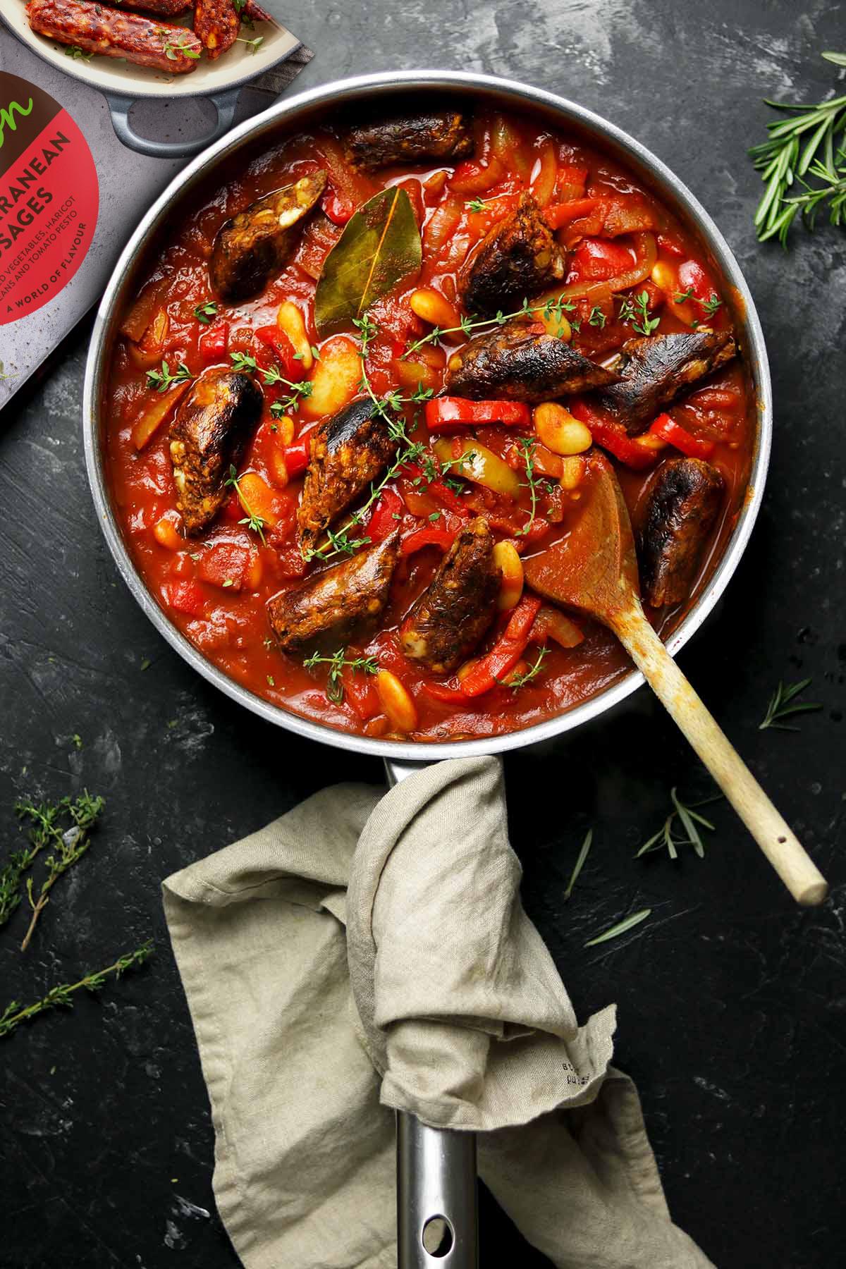 vegan sausages in pan