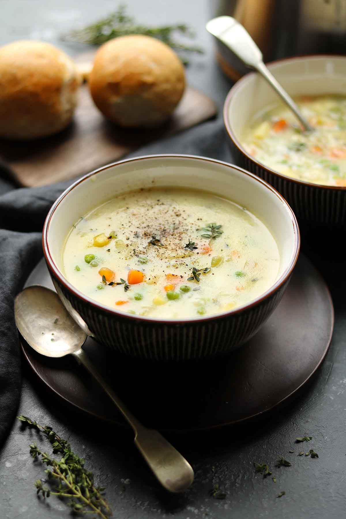 vegetable soup in bowl angled