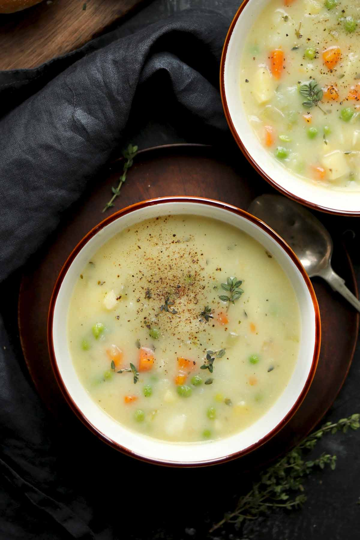 vegetable soup in bowls close up