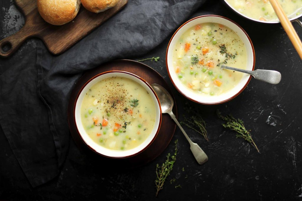 vegetable soup in bowls landscape