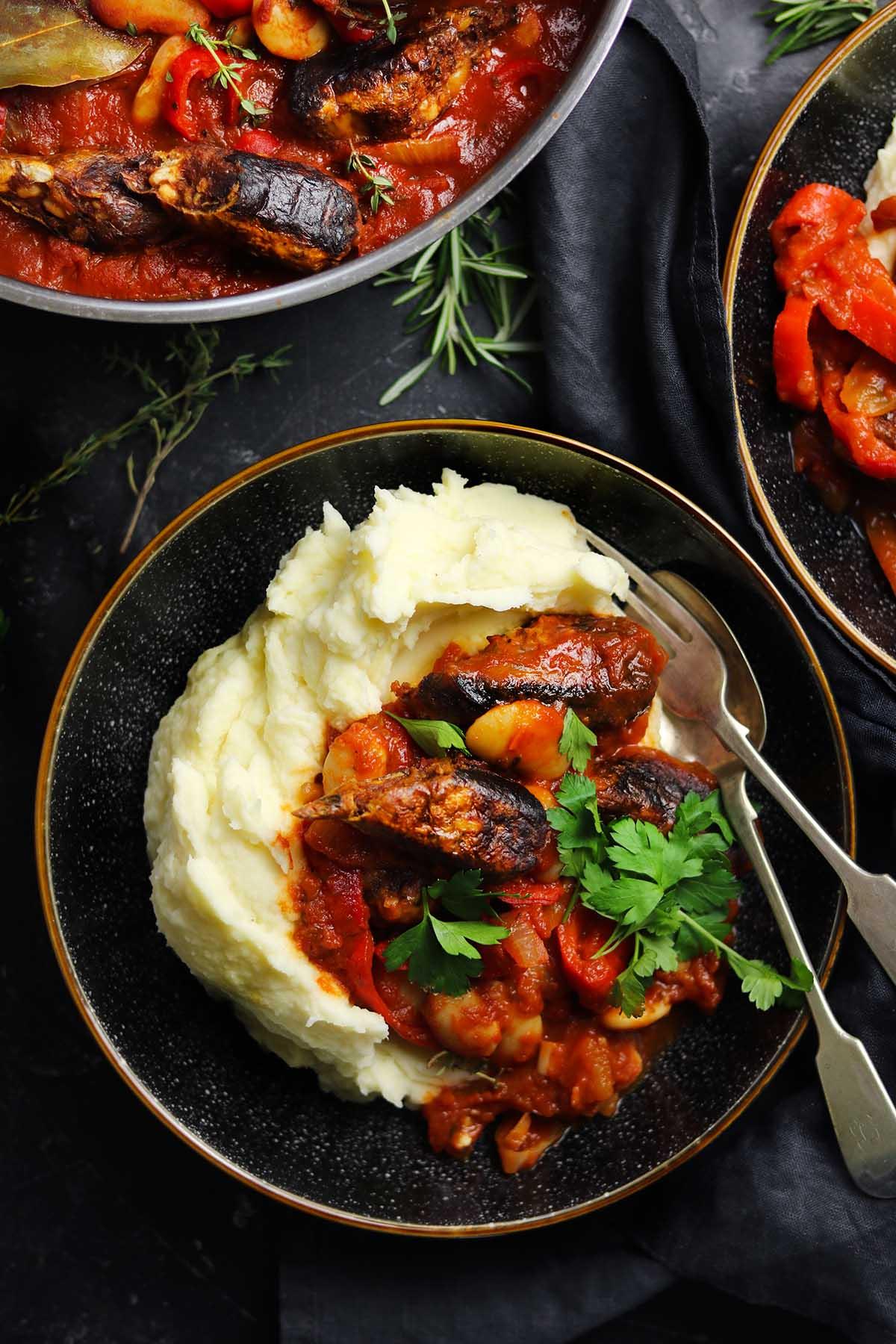 veggie sausage casserole in bowl