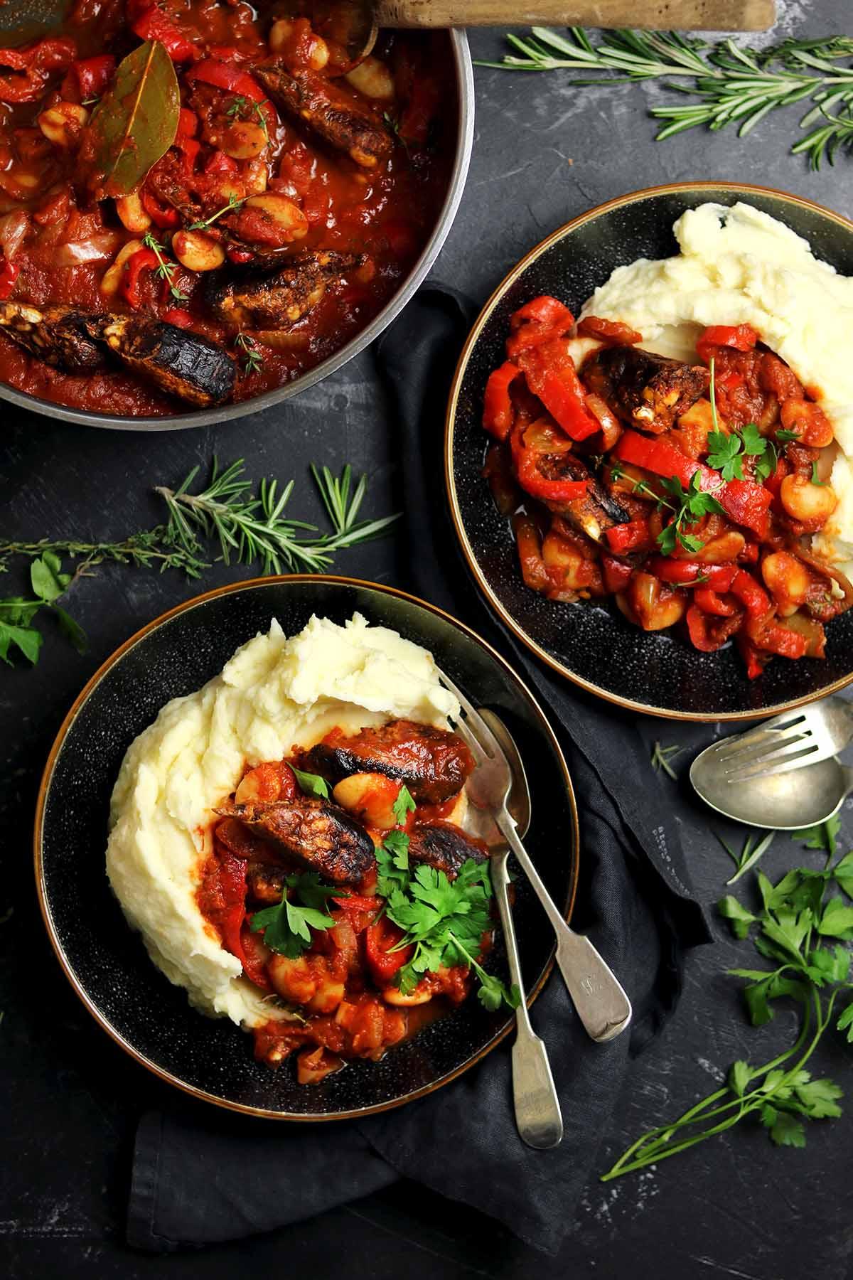 veggie sausage casserole overhead