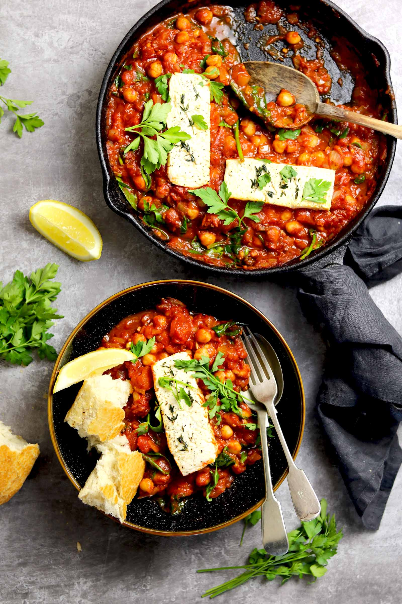 Baked Feta with Chickpeas - in bowl and pan