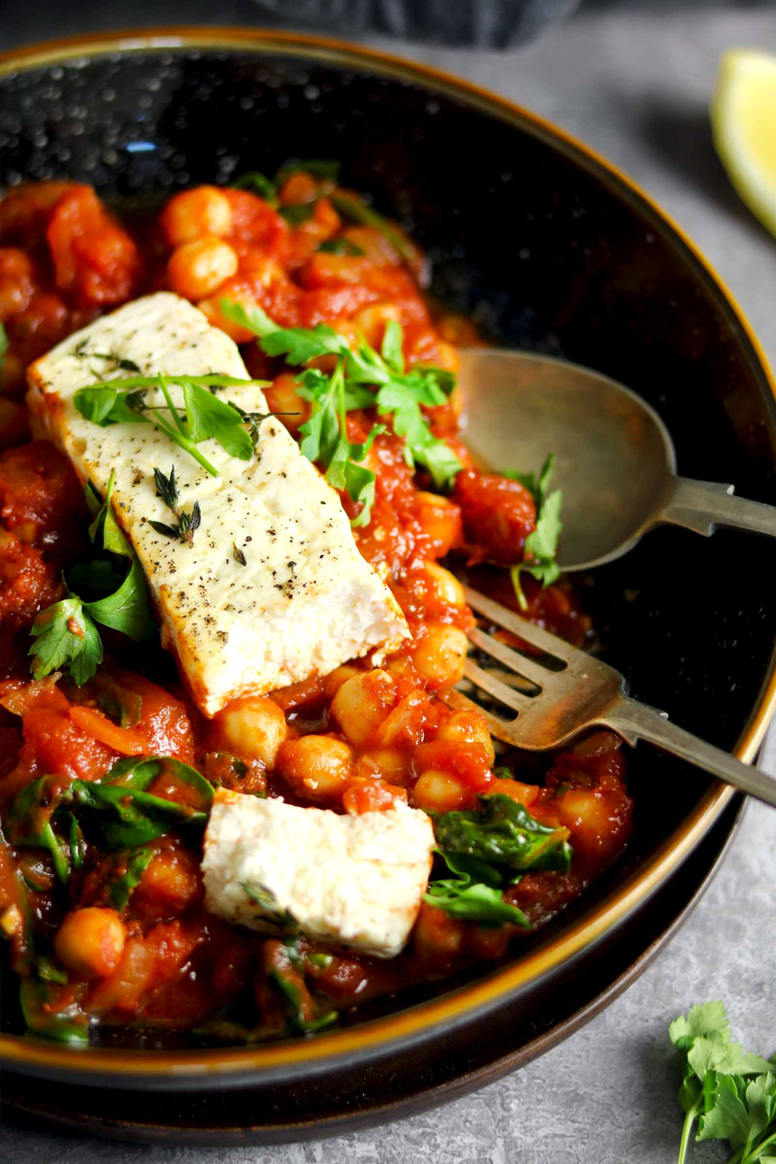 Baked Feta with Chickpeas - in bowl close up