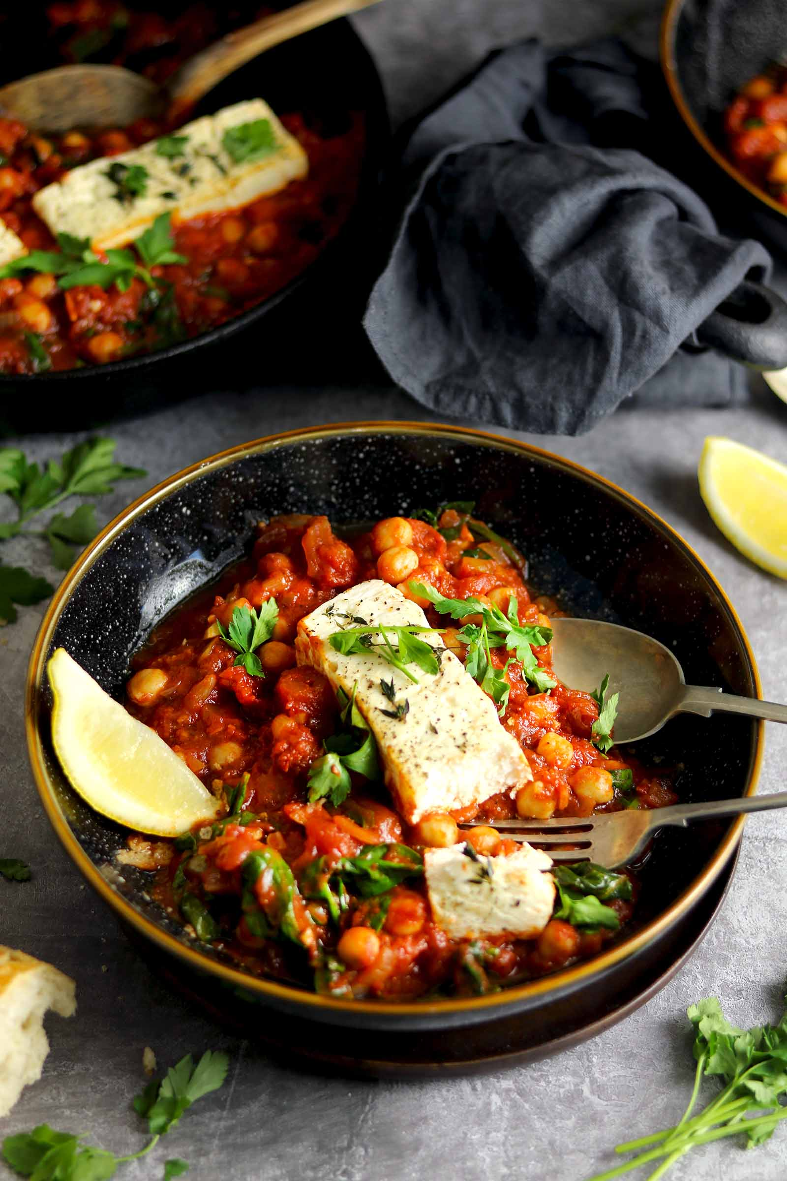 Baked Feta with Chickpeas - in bowl side on