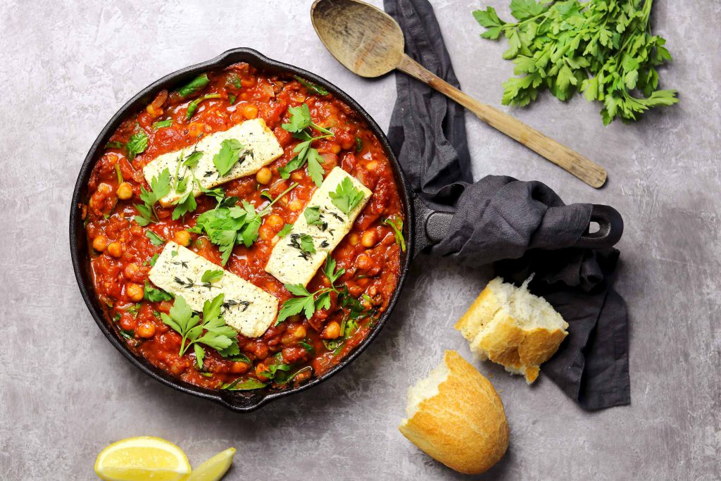 Baked Feta with Chickpeas and Spinach