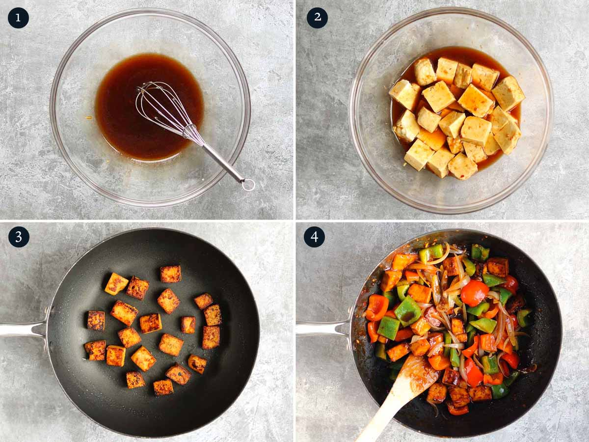 Step by step process for making sesame tofu