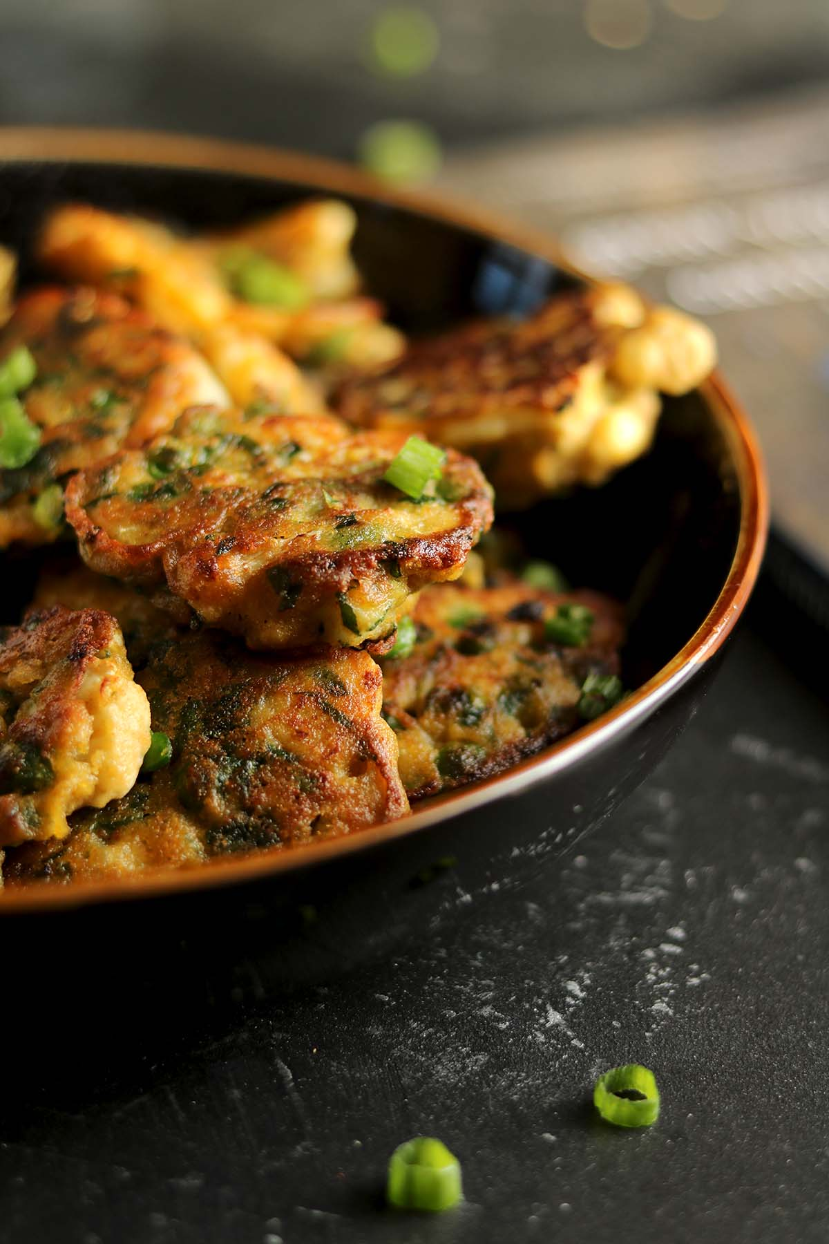 vegetable fritters - close up