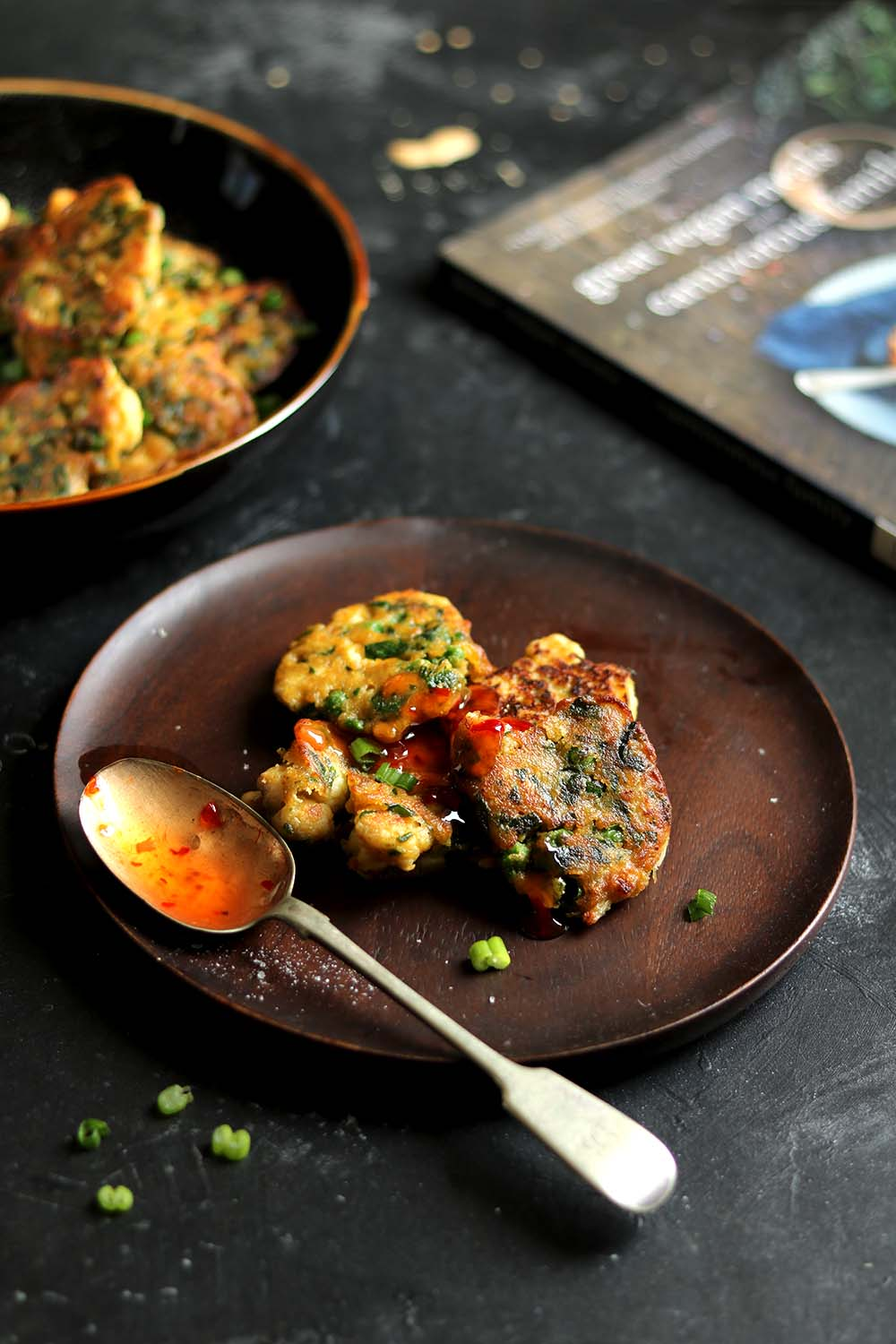 vegetable fritters - plated