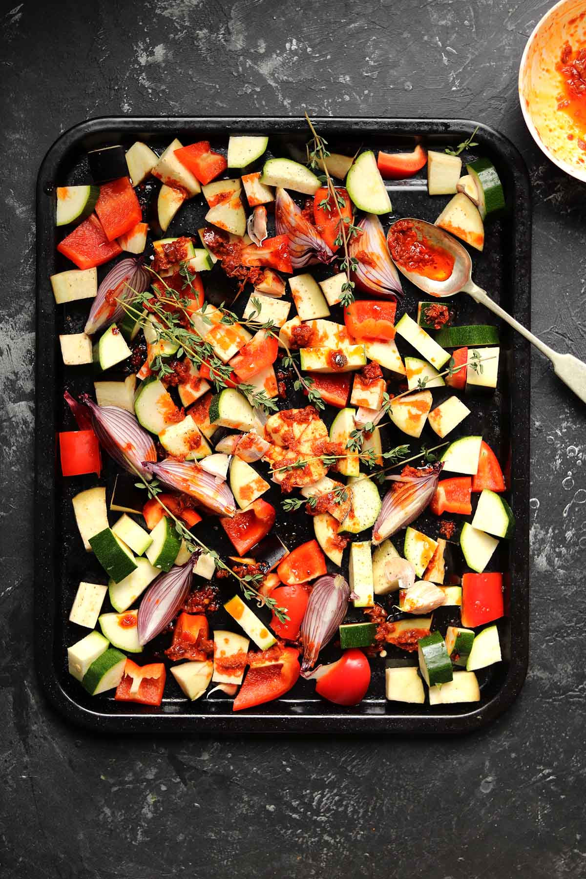 vegetables in tray - process