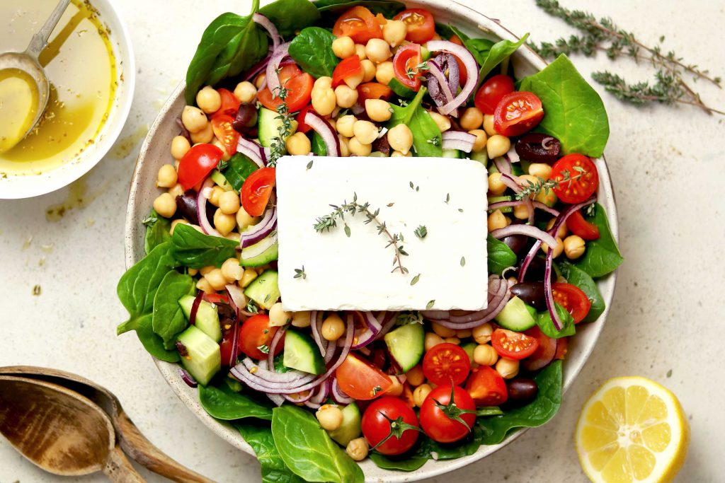 Greek Chickpea Salad with Spinach