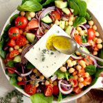 Greek Chickpea Salad with Spinach in bowl