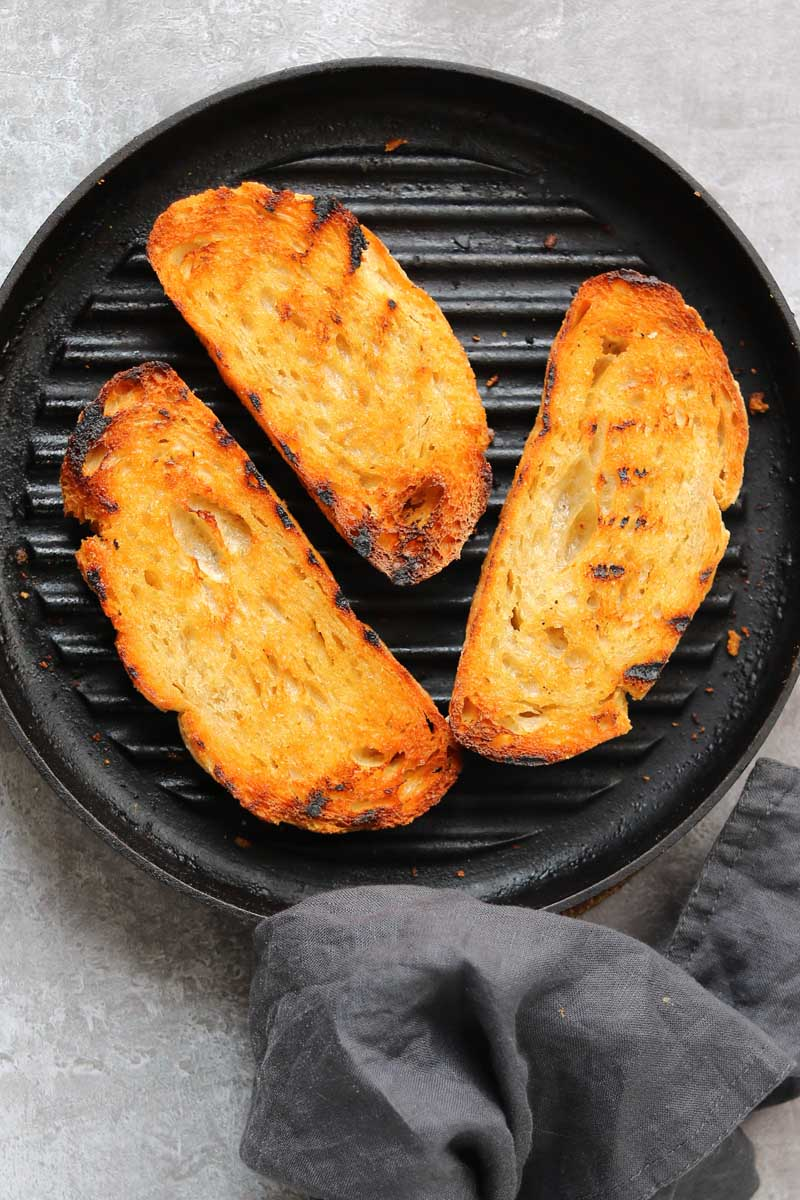 grilled bread in grill pan