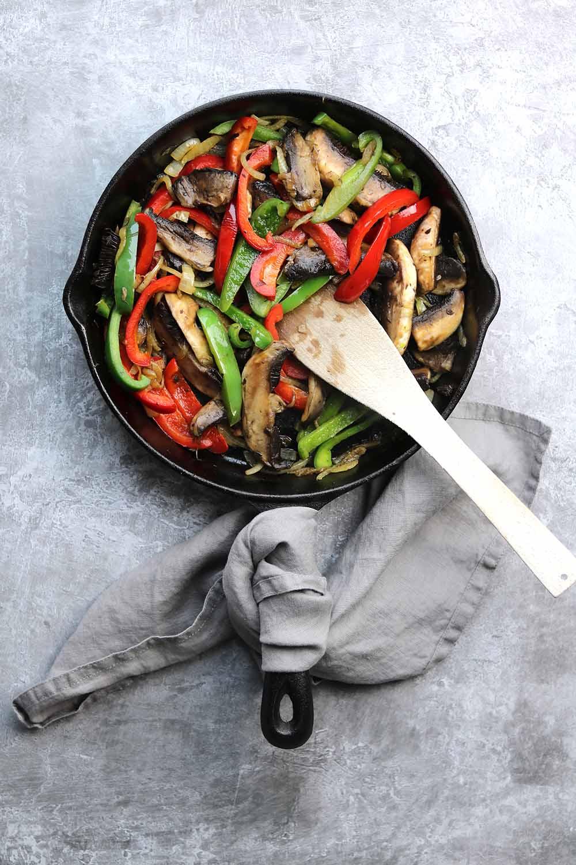 skillet with vegetables