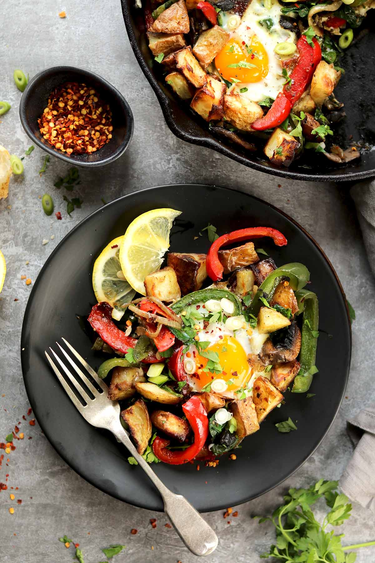 veggie breakfast in skillet and plated