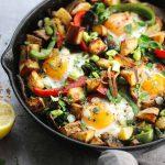 veggie breakfast in skillet side on