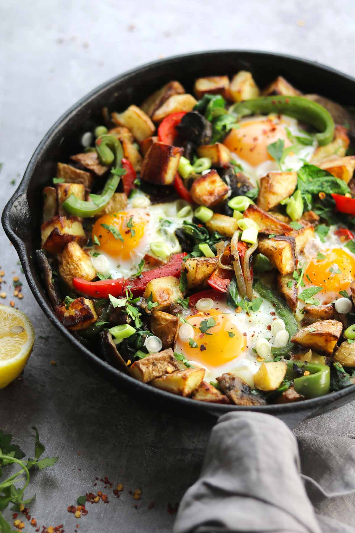 veggie breakfast in skillet side on