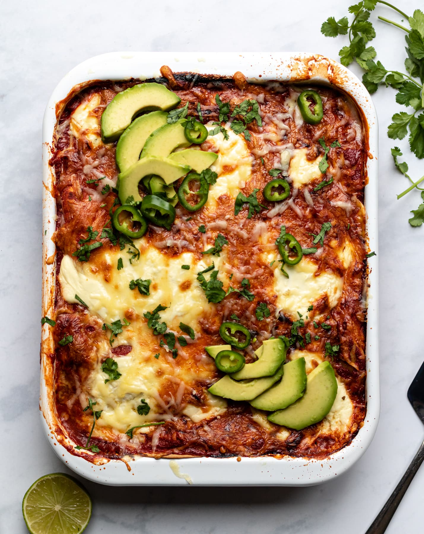 vegetarian enchilada casserole with black beans and spinach