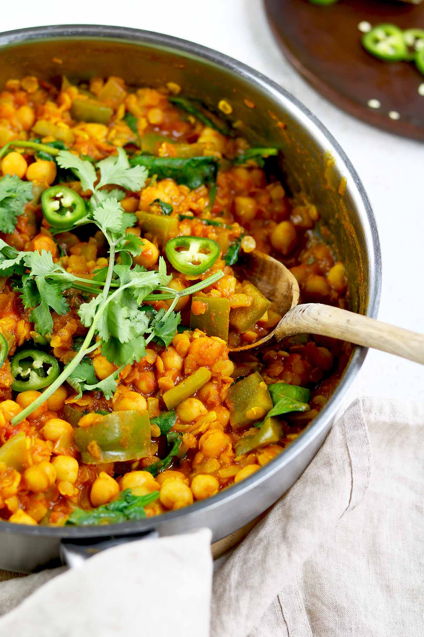 chickpea and lentil curry in pan close up
