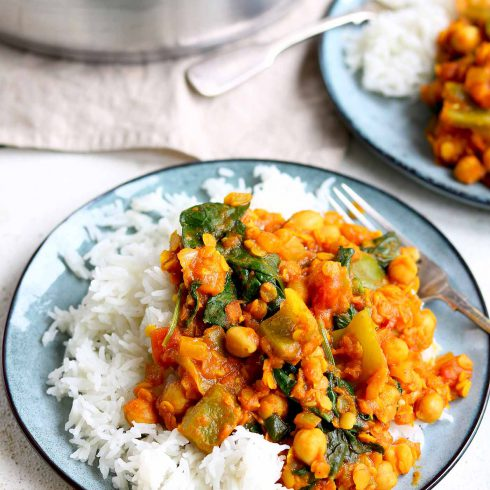 chickpea and lentil curry plated