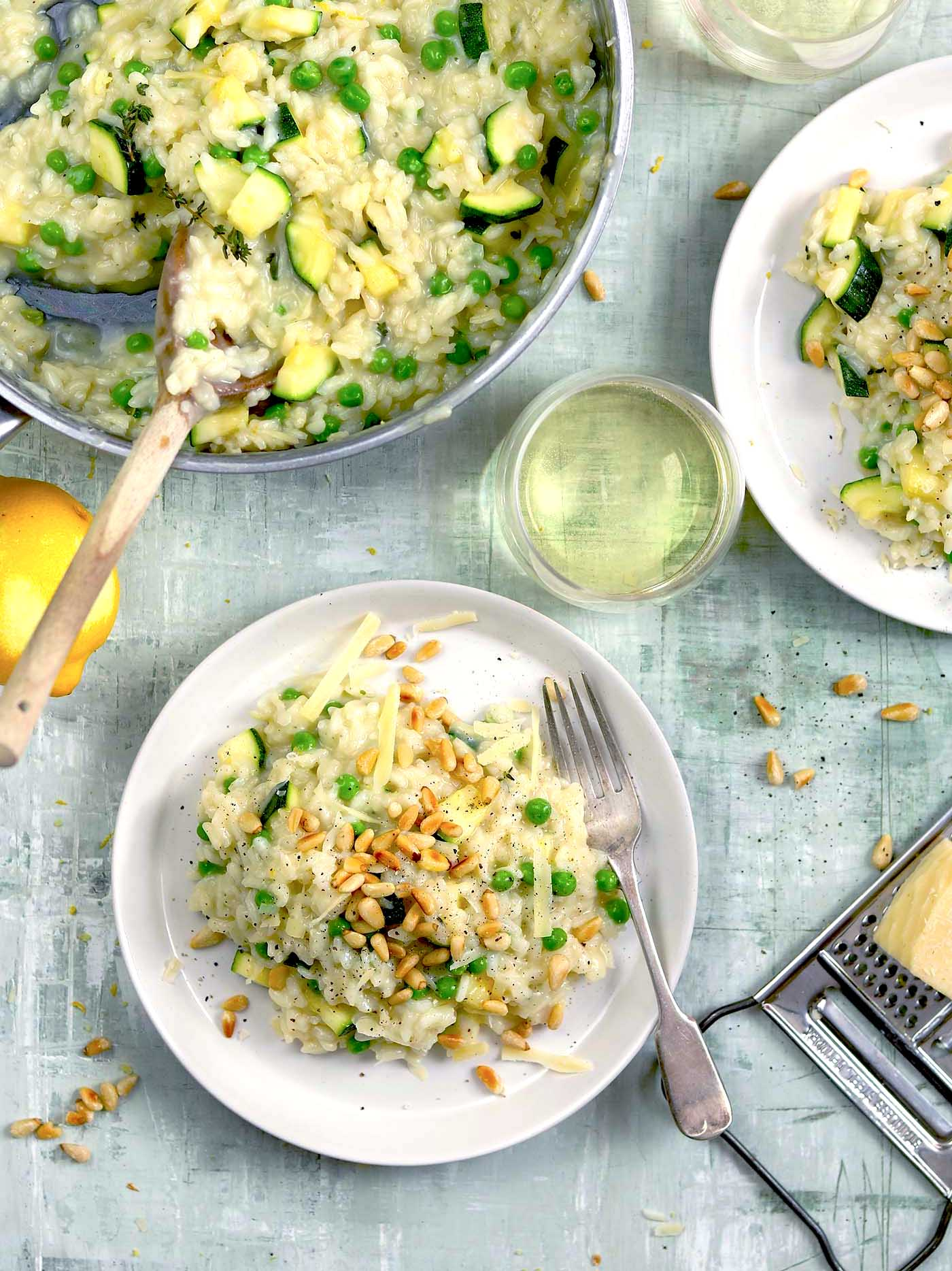 Courgette Risotto with Peas & Lemon, pine nuts and parmesan shavings
