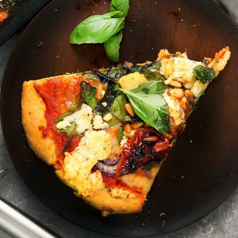 spinach and feta pizza slice