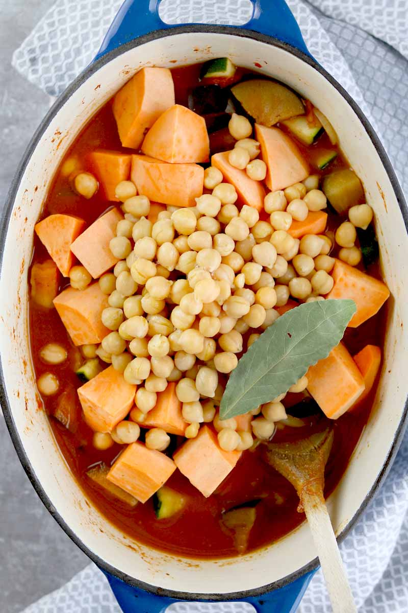 vegetables in pot with chickpeas