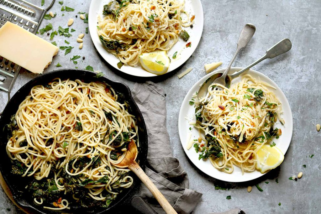 Pasta with Kale and Lemon slices with pine nuts and parmesan