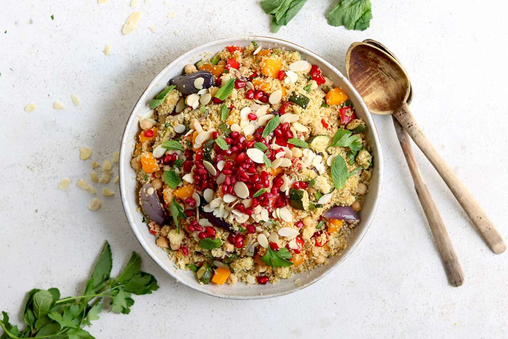 Moroccan Couscous with roasted vegetables and chickpeas and herbs