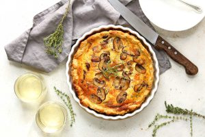 Mushroom Quiche with Cheese and herbs
