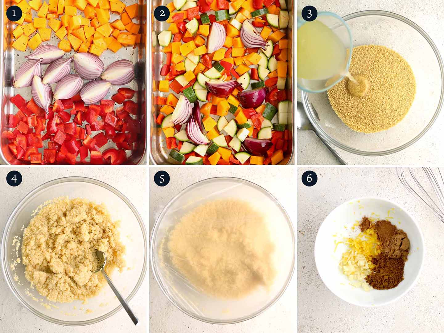 Moroccan Couscous recipe process steps 1-6
