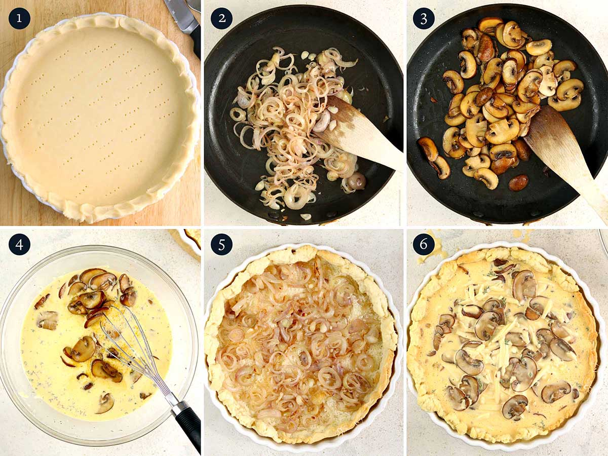 Step by step guide to making Mushroom quiche