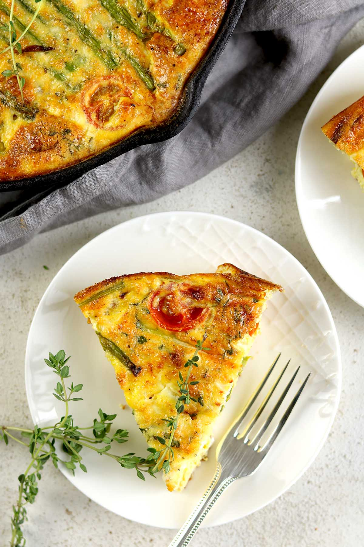 slice of frittata on a plate