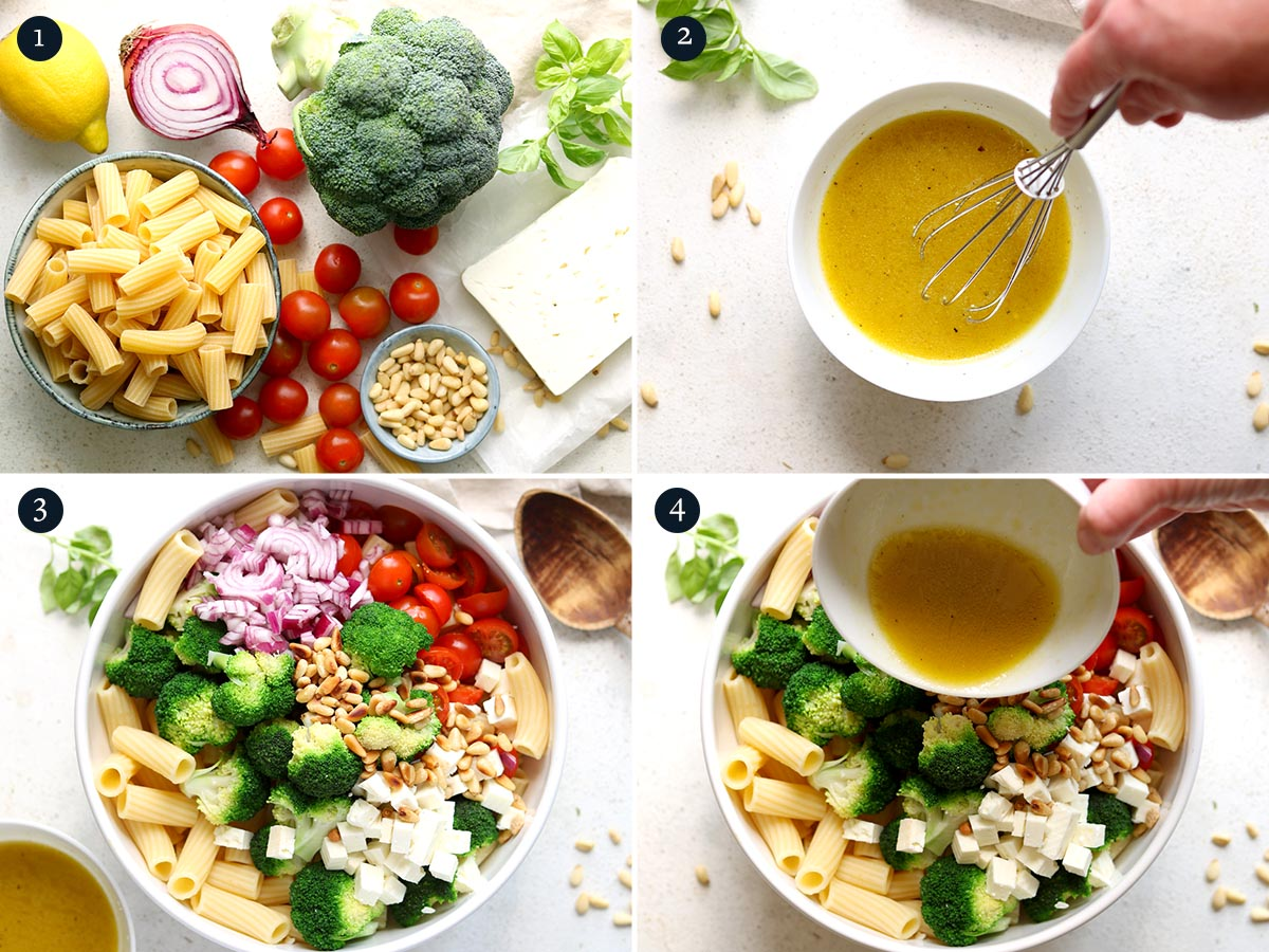 Dressing and ingredients for making a pasta salad from broccoli, tomatoes, pine nuts and herbs