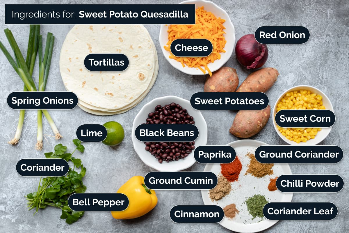 Ingredients for making these Quesadilla