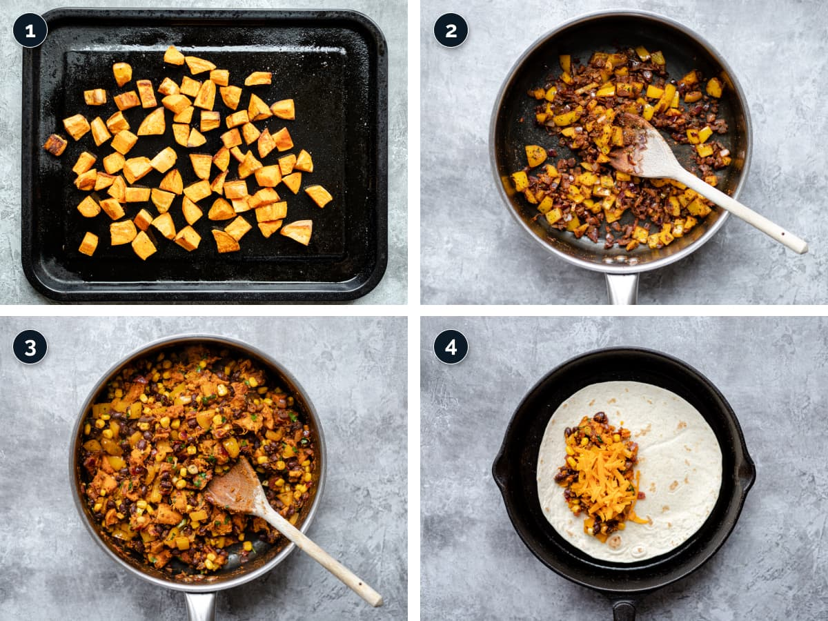 Step by step process for making these Quesadilla